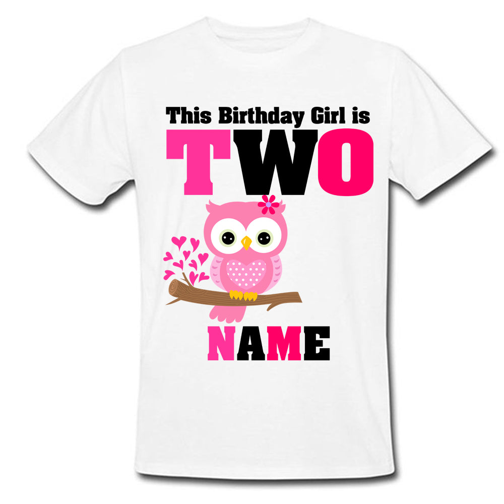 Sprinklecart Lovely This Birthday Girl is Two Printed Owl Birthday T Shirt | Customized Birthday Dress for Girls