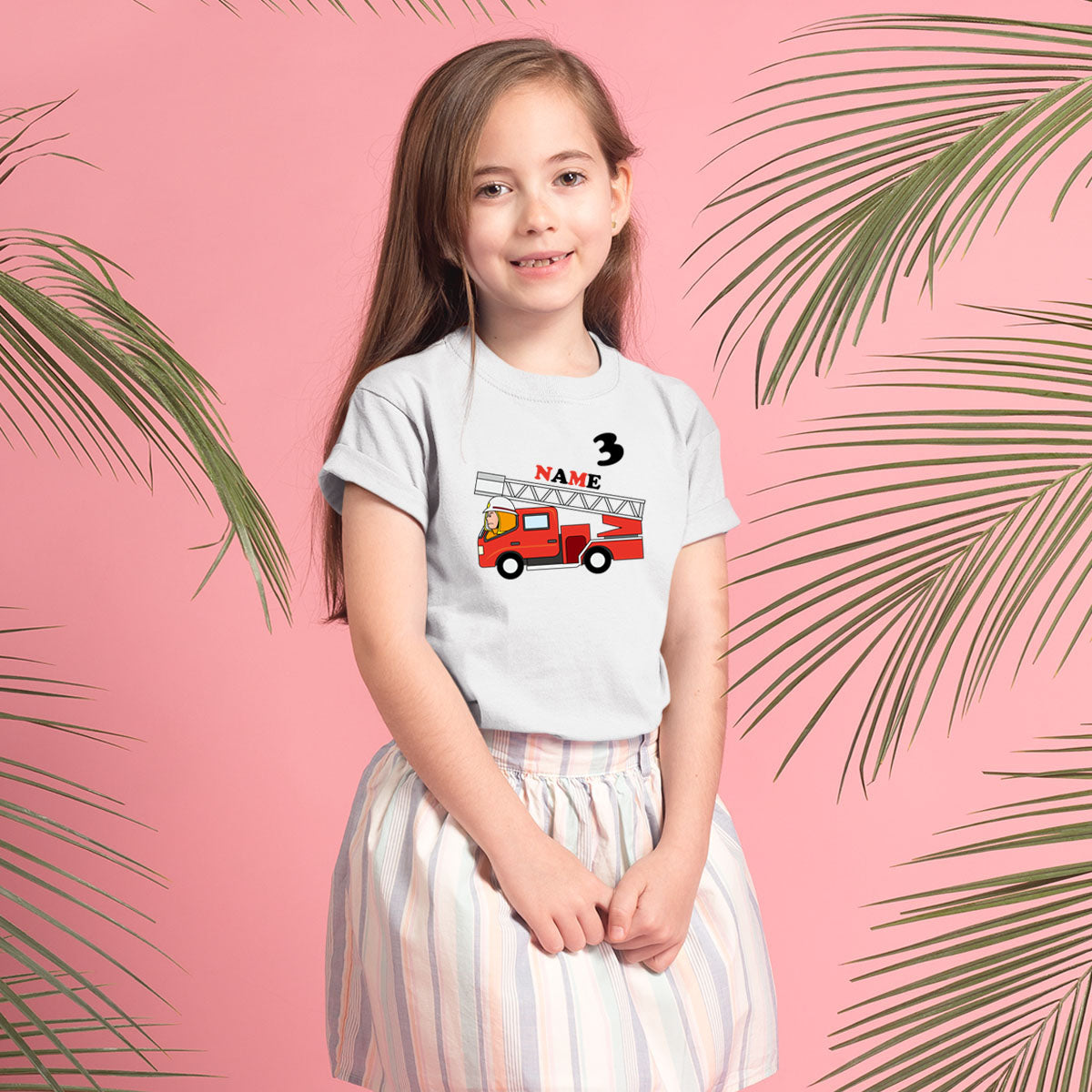 Sprinklecart Fire Engine Themed Birthday T Shirt | Personalized Birthday Wear