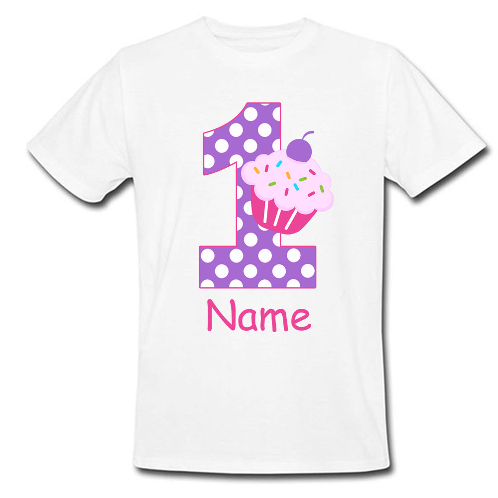 Sprinklecart Pink and Purple Cup Cake Birthday T Shirt | Customized 1st Birthday Dress for Your Little Princess