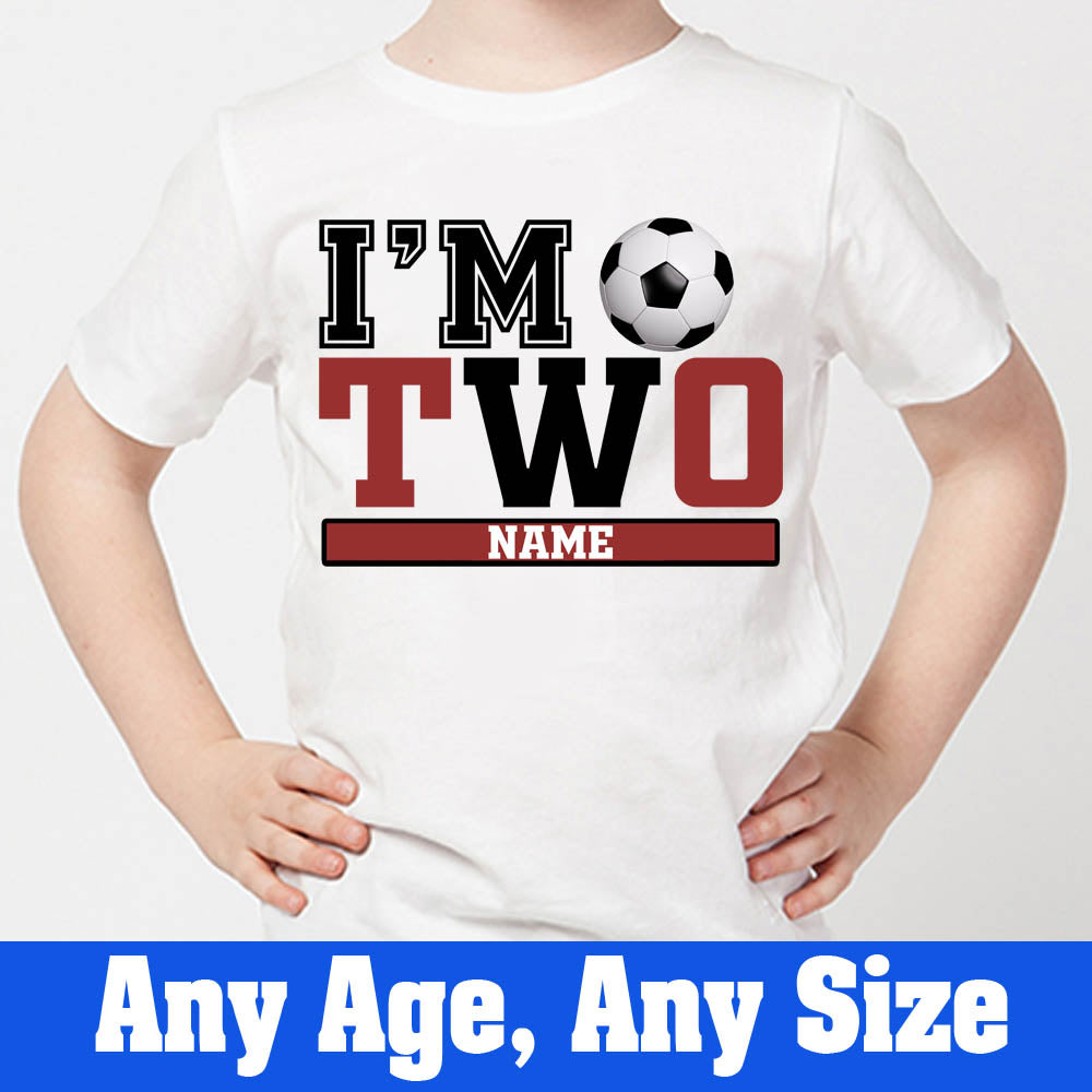 Sprinklecart I'm Two Football Birthday T Shirt | Custom Name and Age Printed Birthday Wear