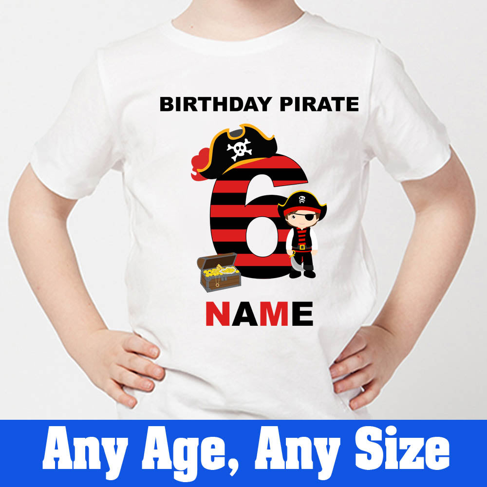 Sprinklecart Pirate Birthday T Shirt | Personalized Name and Age Printed Birthday Wear
