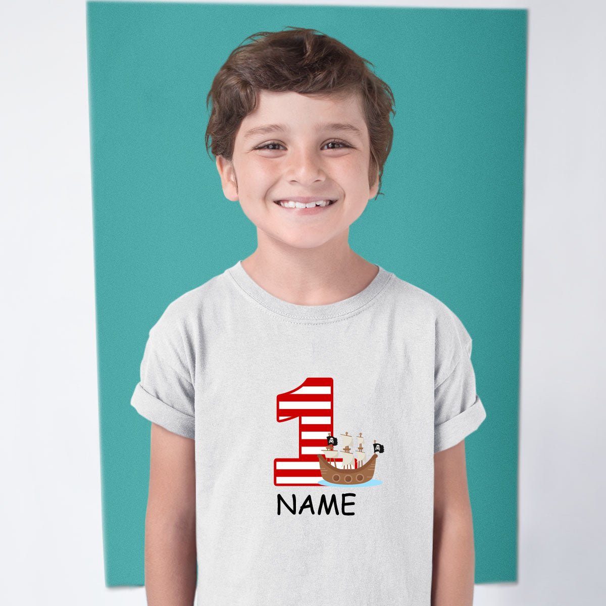 Sprinklecart Custom Name and Age Printed Pirate Boat Birthday T Shirt | Unique 1st Birthday Wear