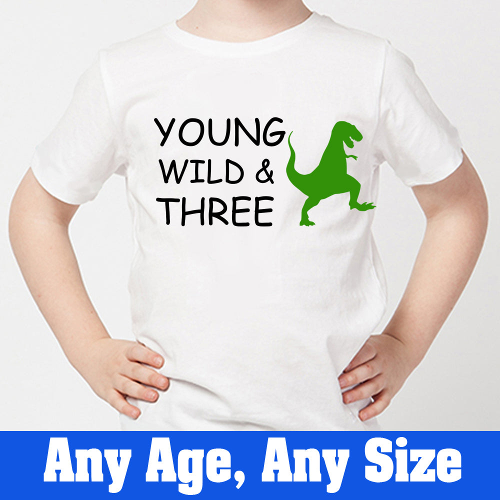 Sprinklecart Young Wild & Three Dinosaur Birthday Tee | Customized Third Birthday Wear