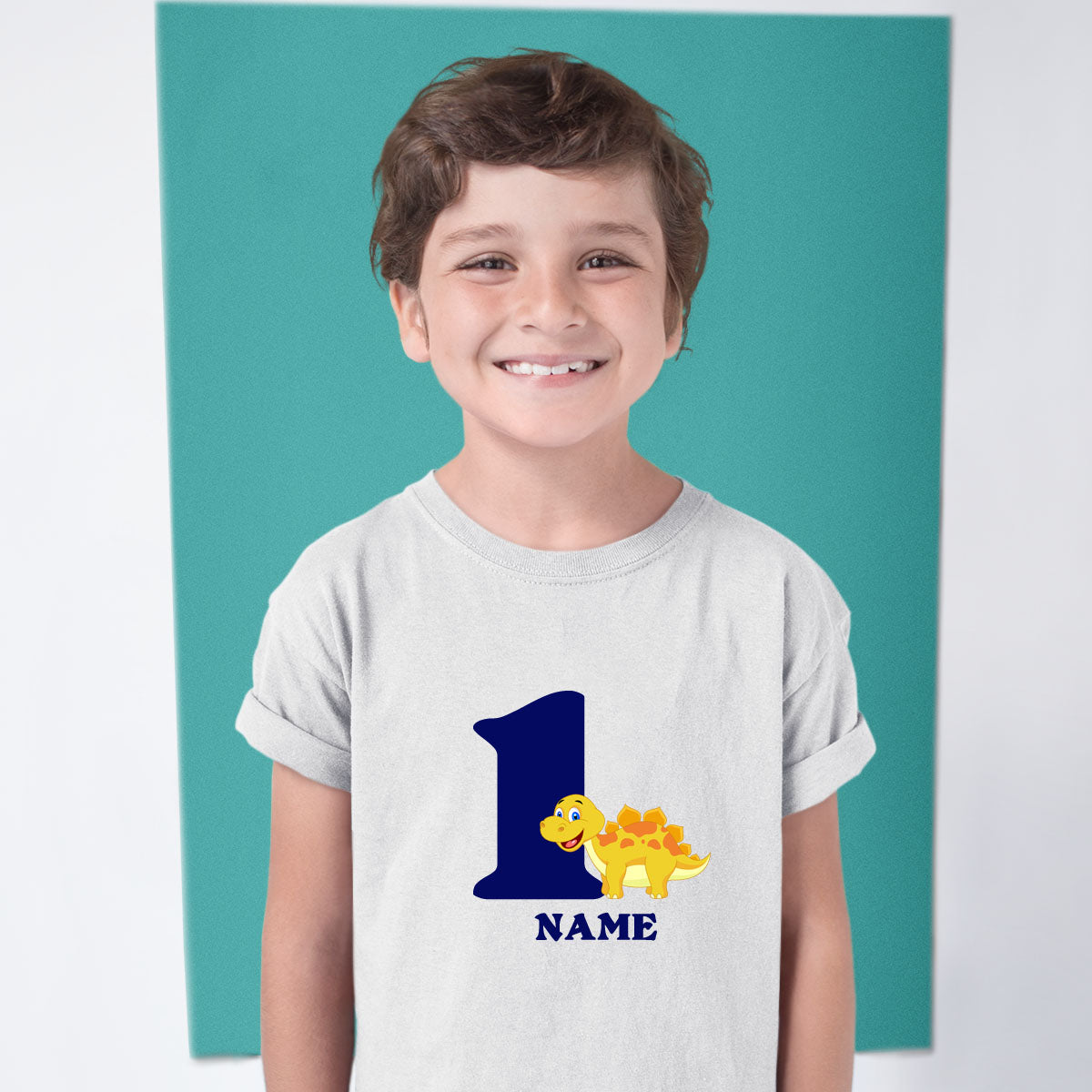 Sprinklecart Personalized Name Printed Dinosaur Birthday T Shirt | Unique 1st Birthday Dress