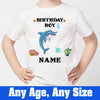 Sprinklecart Cute Dolphin Birthday T Shirt | Custom Name and Age Printed Birthday Dress