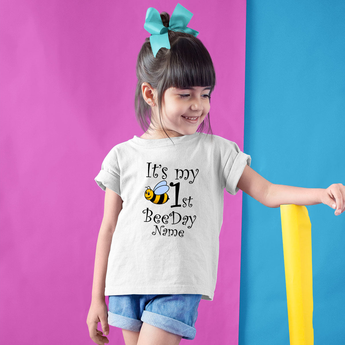 Sprinklecart It's My First BeeDay Birthday Tee | Custom Name and Age Printed Birthday Wear