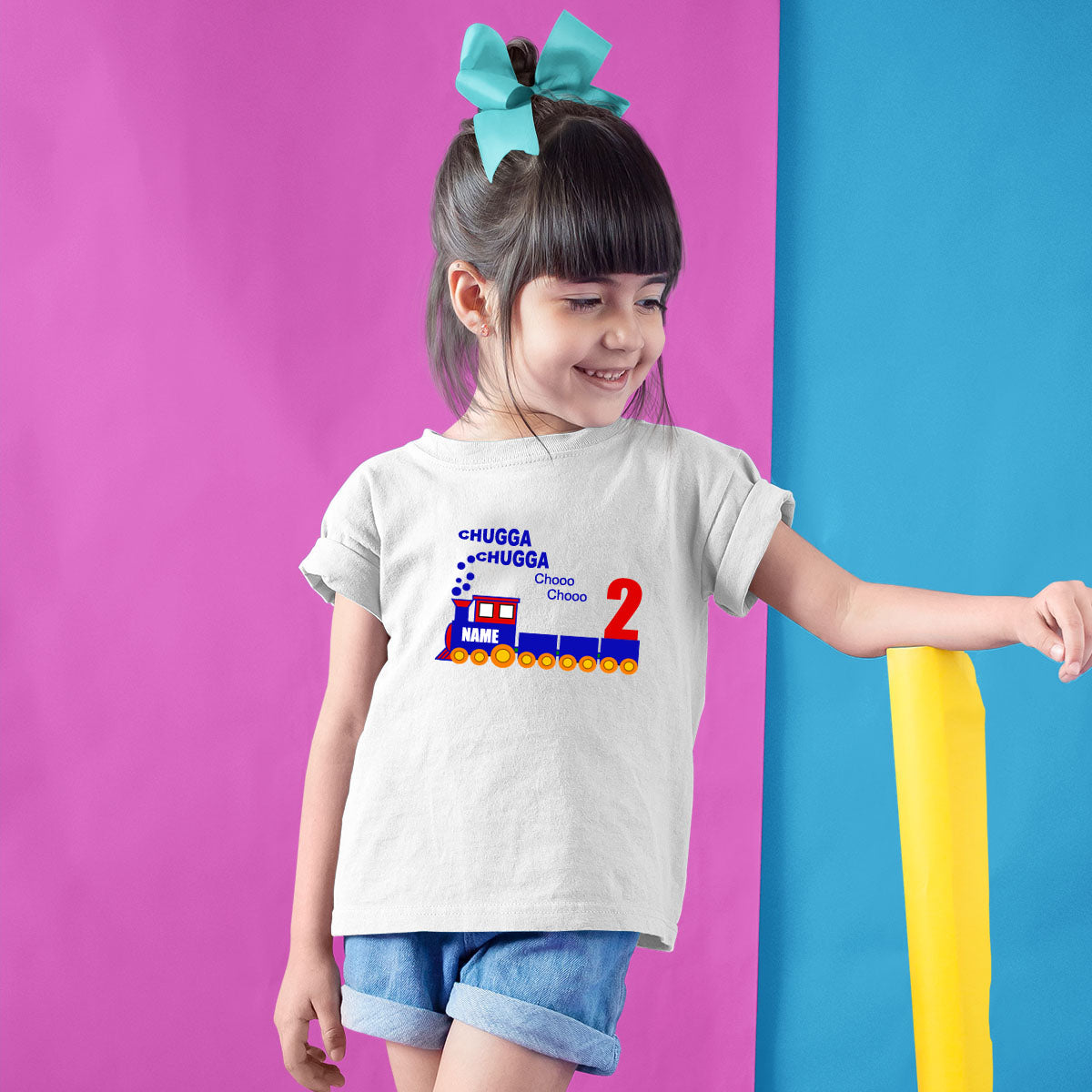 Sprinklecart Custom Name and Age Printed Birthday Dress | Train Birthday T Shirt Gift for Your Little One