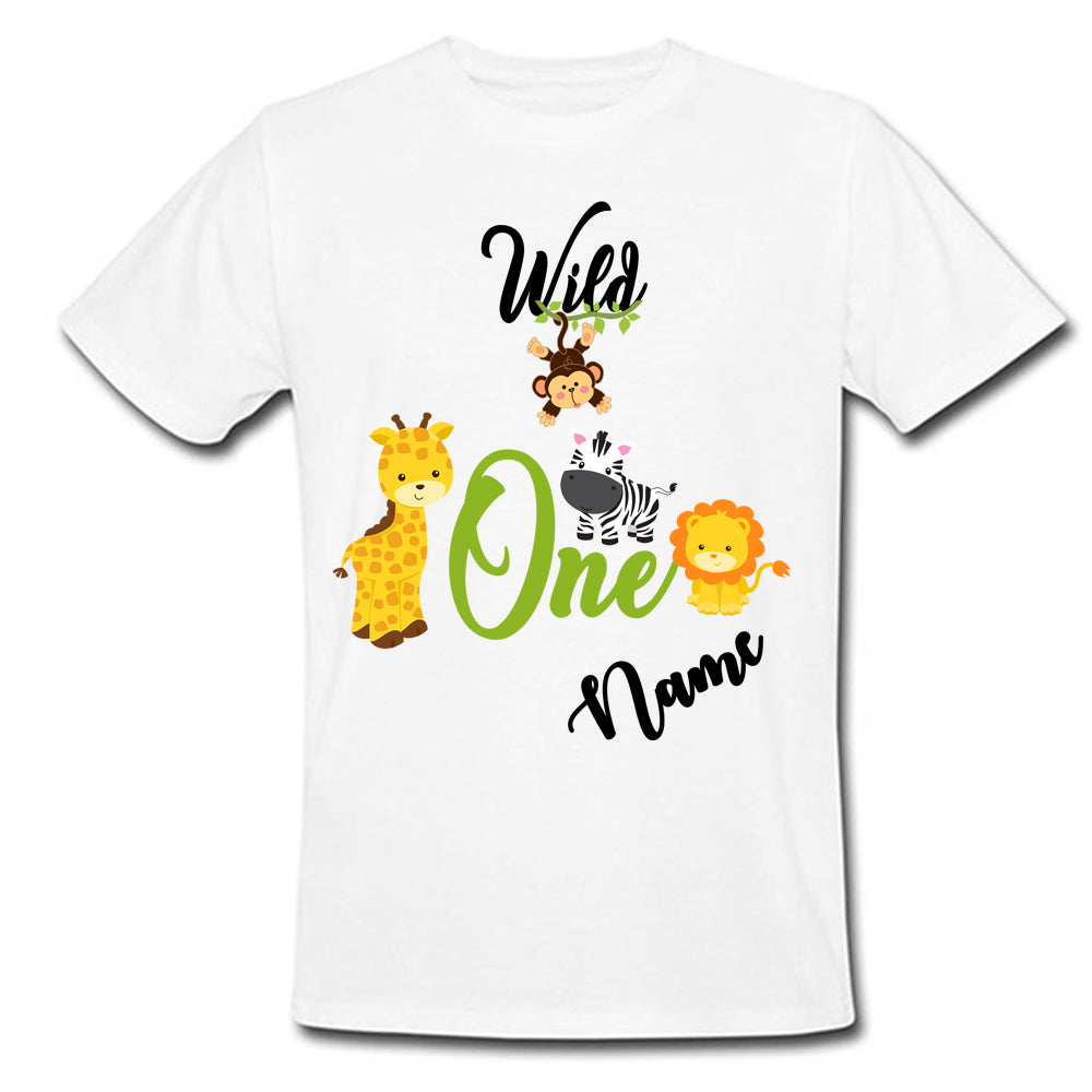 Sprinklecart Jungle Inspired First Birthday T Shirt | Custom Name and Age Printed Birthday Wear