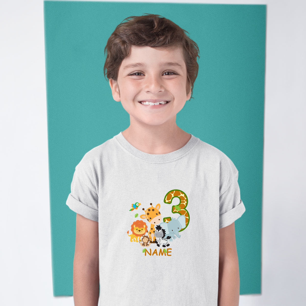 Sprinklecart Personalized Safari Themed Birthday T Shirt | Customized 3rd Birthday Wear