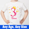 Sprinklecart Unique 3rd Birthday T Shirt Gift | Custom Name and Age Printed Birthday Wear for Your Little Princess