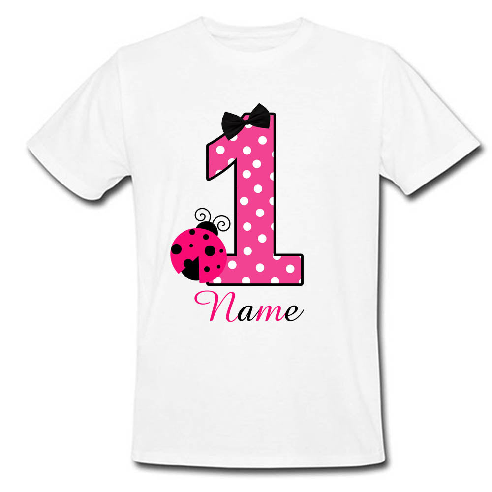 Sprinklecart Cute Pink Little Bugs Birthday Dress | Personalized First Birthday T Shirt