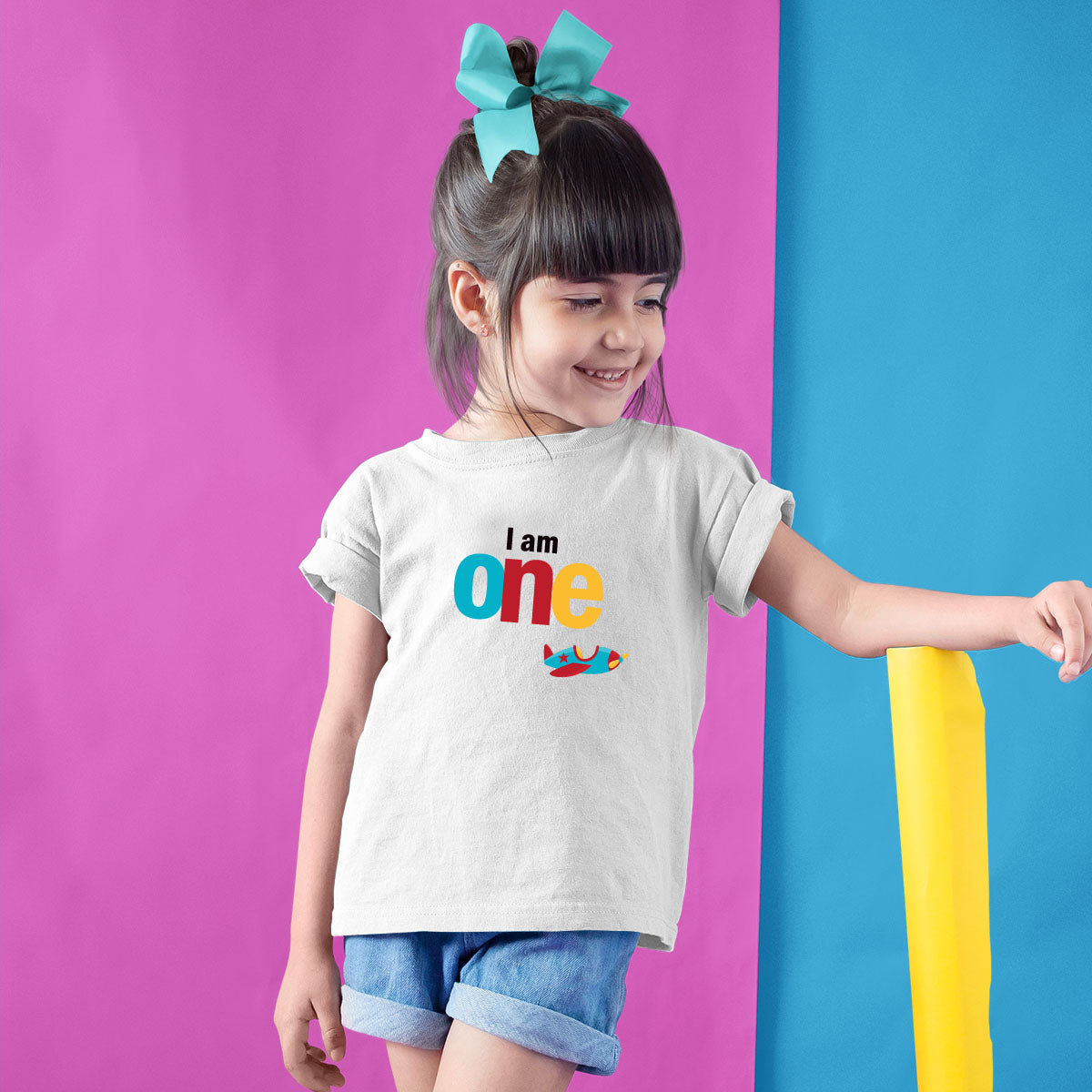 Sprinklecart I'm One Cute Air Plane Themed Tee | Custom Name and Age Printed Birthday Dress