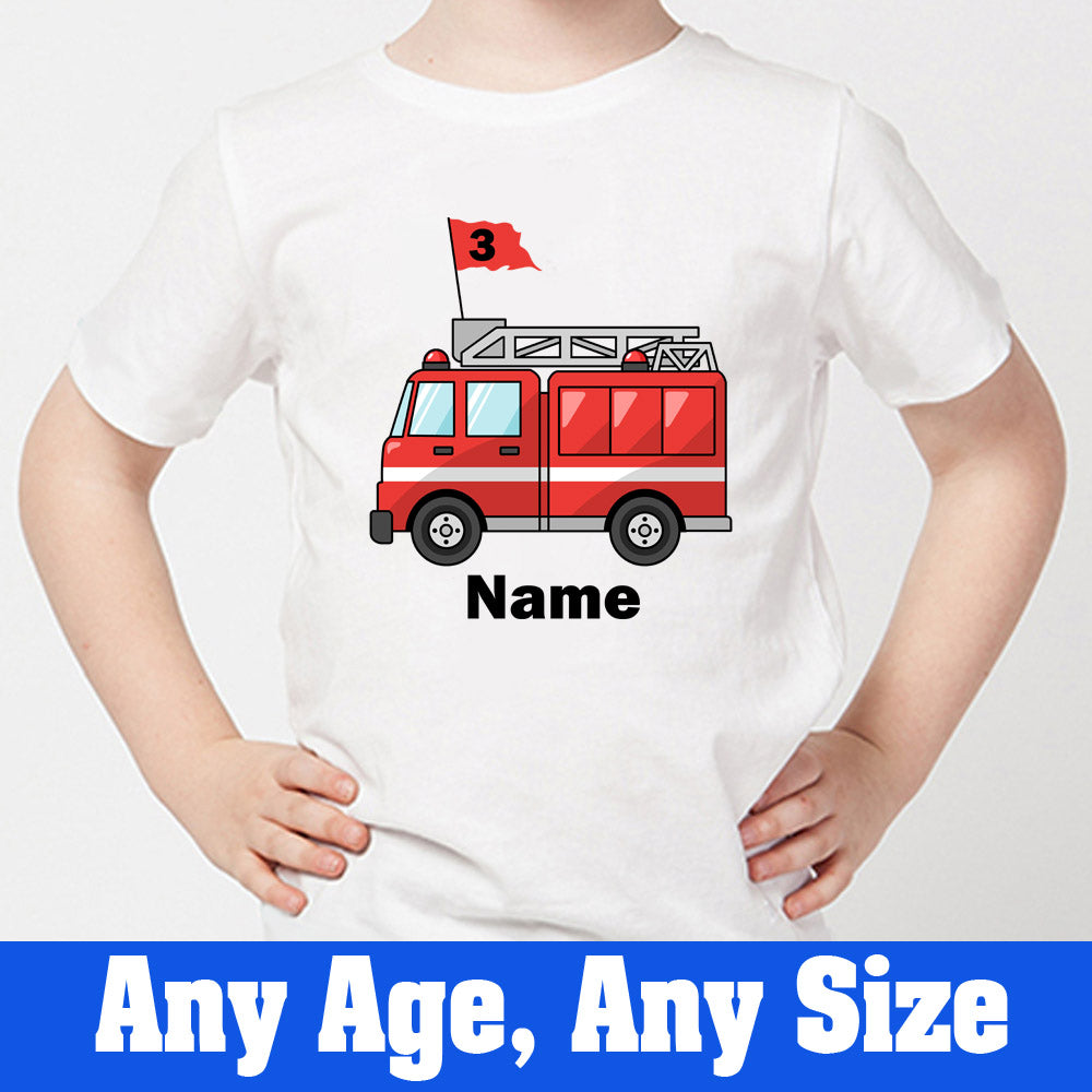 Sprinklecart Fire Vehicle Birthday T Shirt | Unique Third Birthday Wear | Customized Birthday Tee