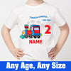 Sprinklecart Chugga Chugga Two Two 2nd Birthday Tee | Custom Name and Age Printed Train Birthday Dress