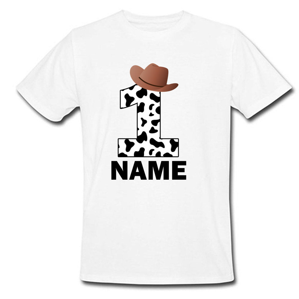 Sprinklecart Make Your Kid's Birthday Special with Cow Boy Themed T Shirt | Customized 1st Birthday Wear