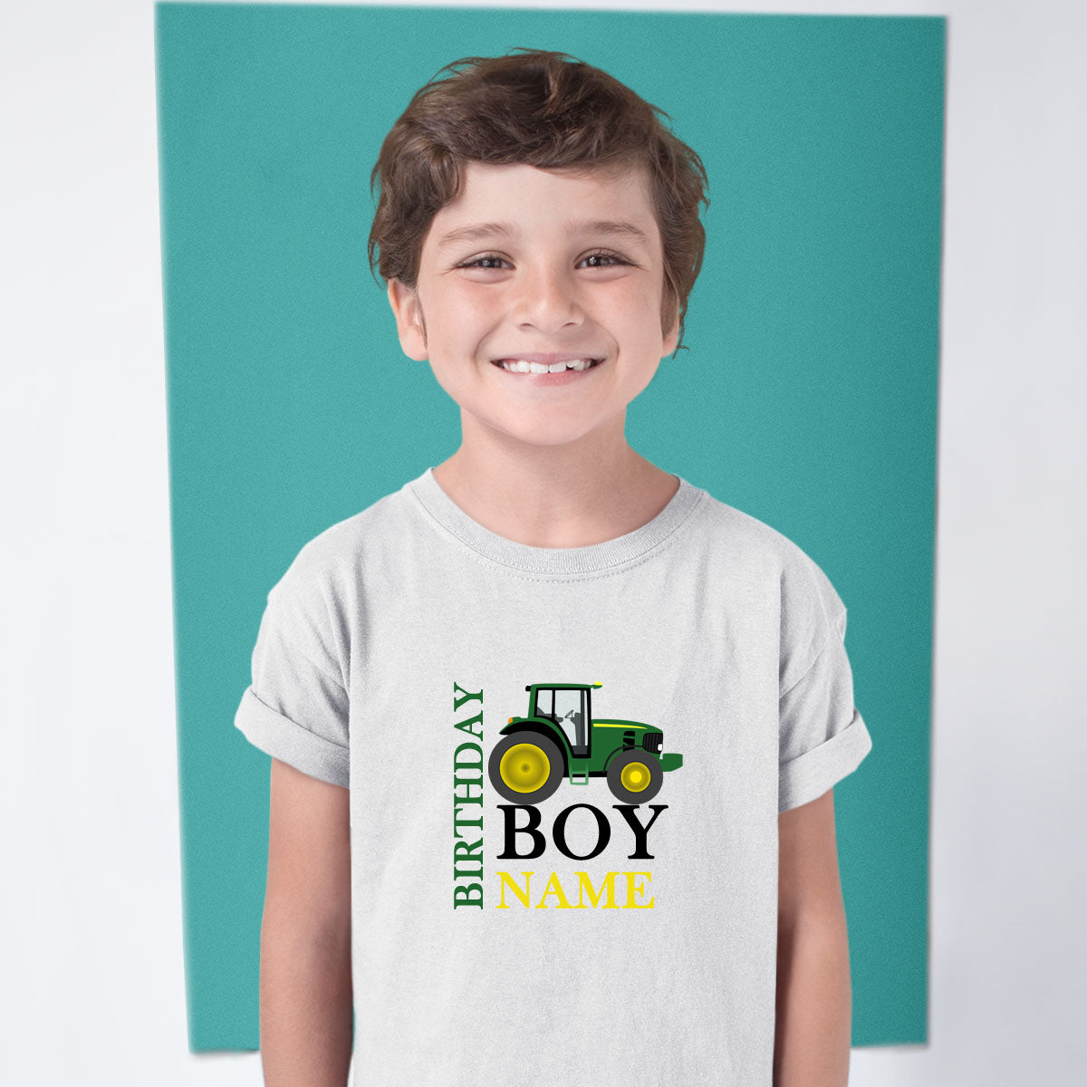 Sprinklecart Custom Name Printed Farm Tractor Themed Birthday T Shirt for Your Kid