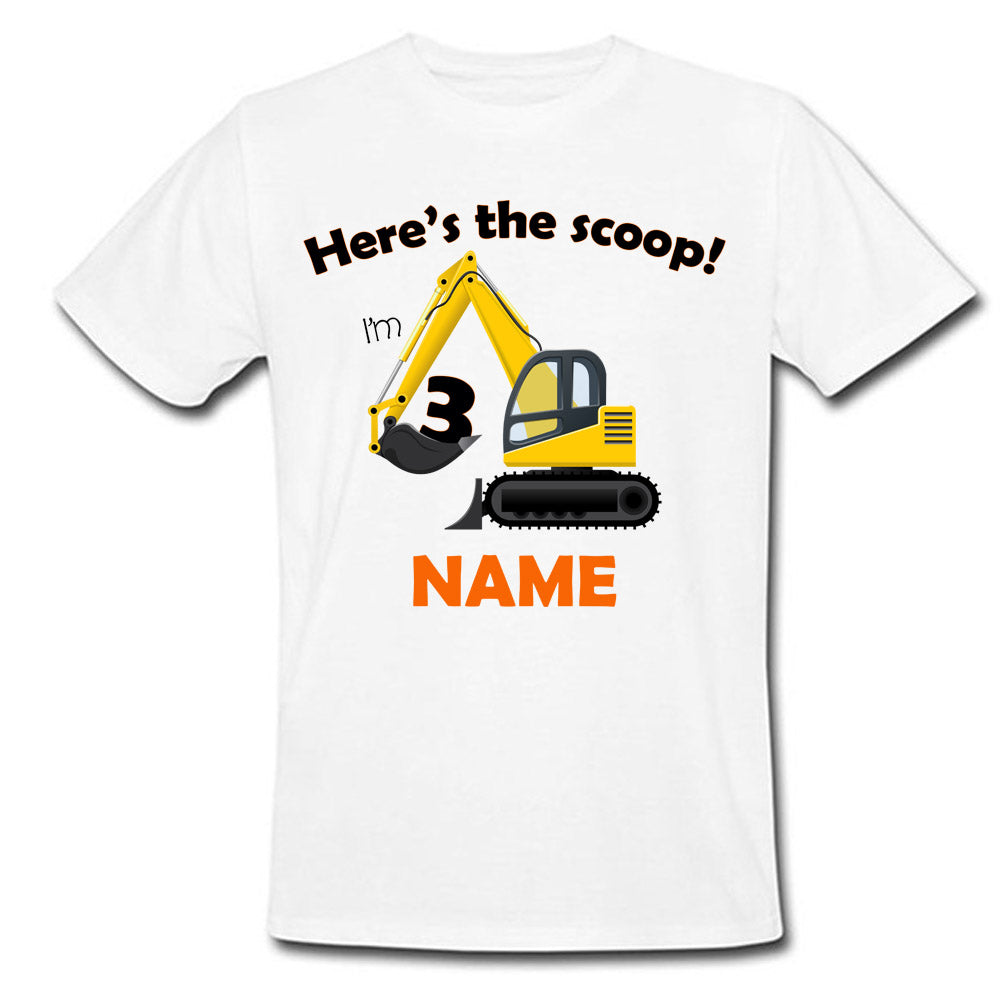 Sprinklecart Here's The Scoop I'm 3 Printed Construction Vehicle Birthday T Shirt | Personalized Birthday Dress
