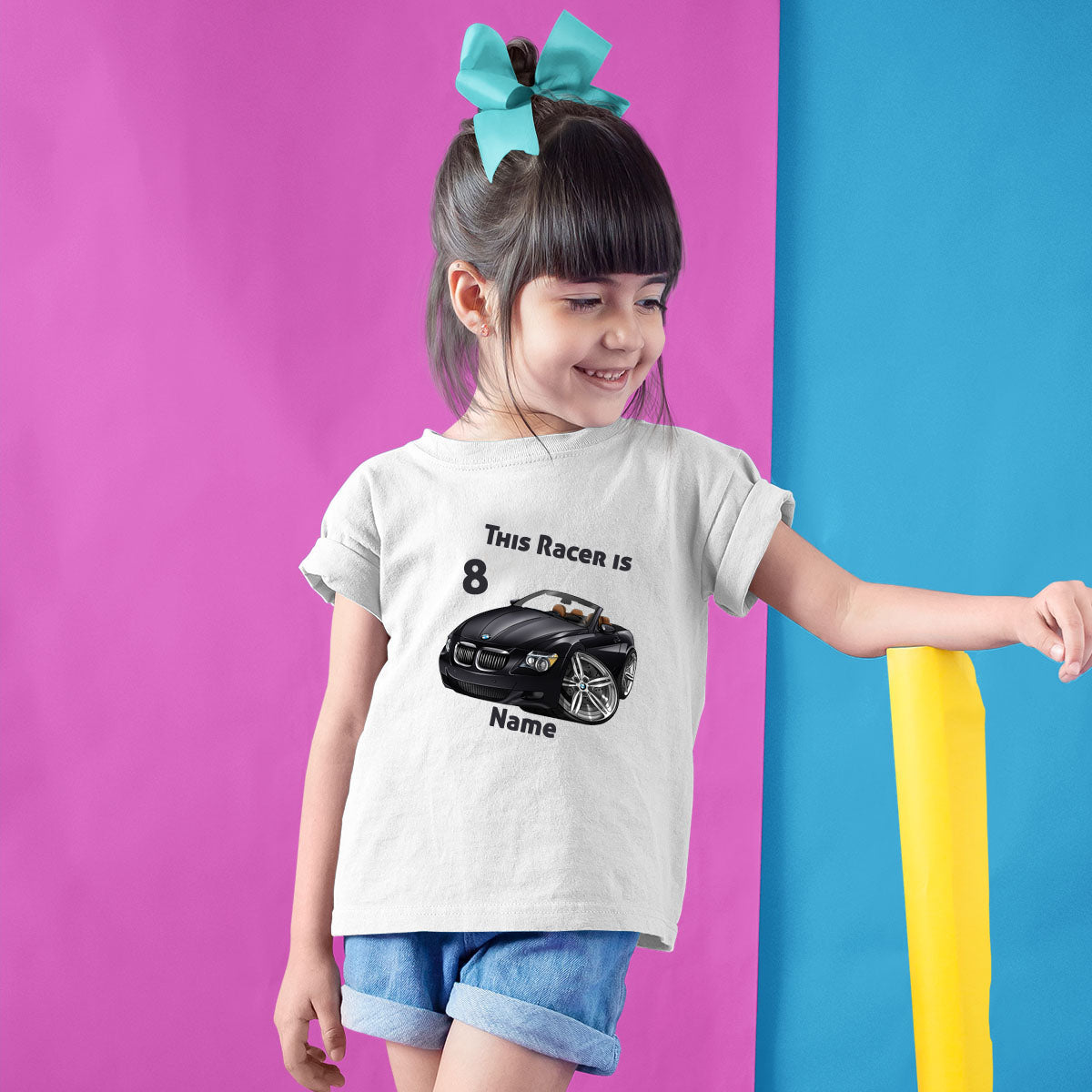 Sprinklecart This Racer is 8 Printed Birthday T Shirt | Personalized Birthday Gift for Your Little Racer