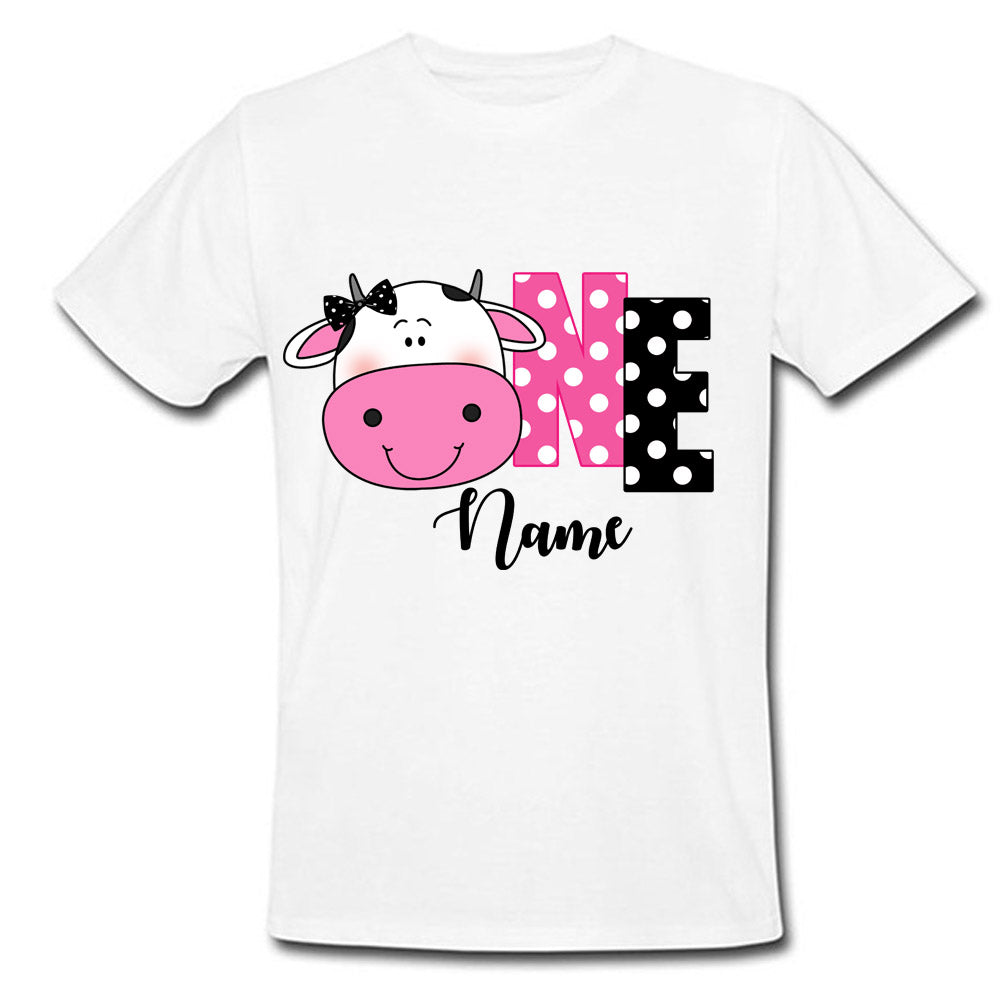 Sprinklecart Farm Animal Cow Birthday Tee | Personalized Birthday Wear for Your Little One