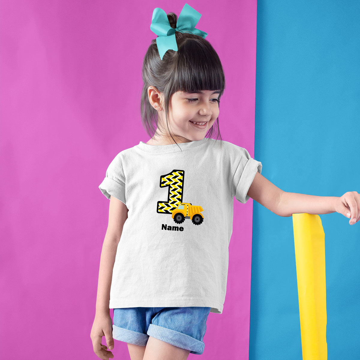 Sprinklecart Unique 1st Birthday Tee | Custom Name and Age Printed Construction Vehicle T Shirt