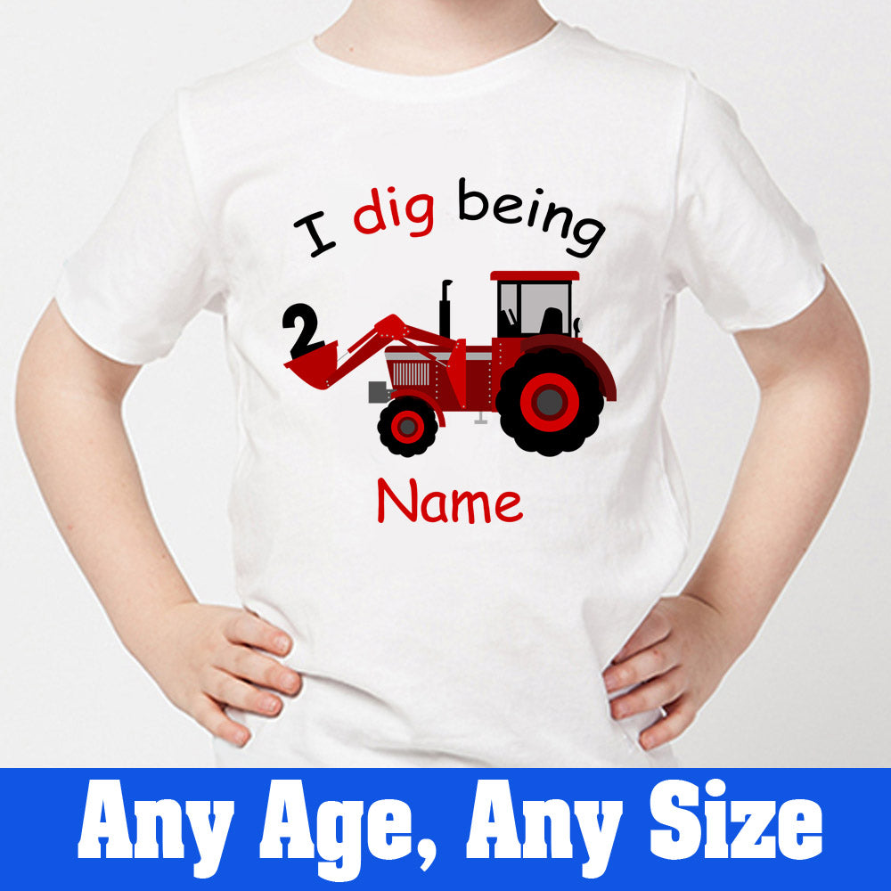 Sprinklecart I Dig Being 2 Birthday Tee | Customized Birthday T Shirt Gift for Your Little One