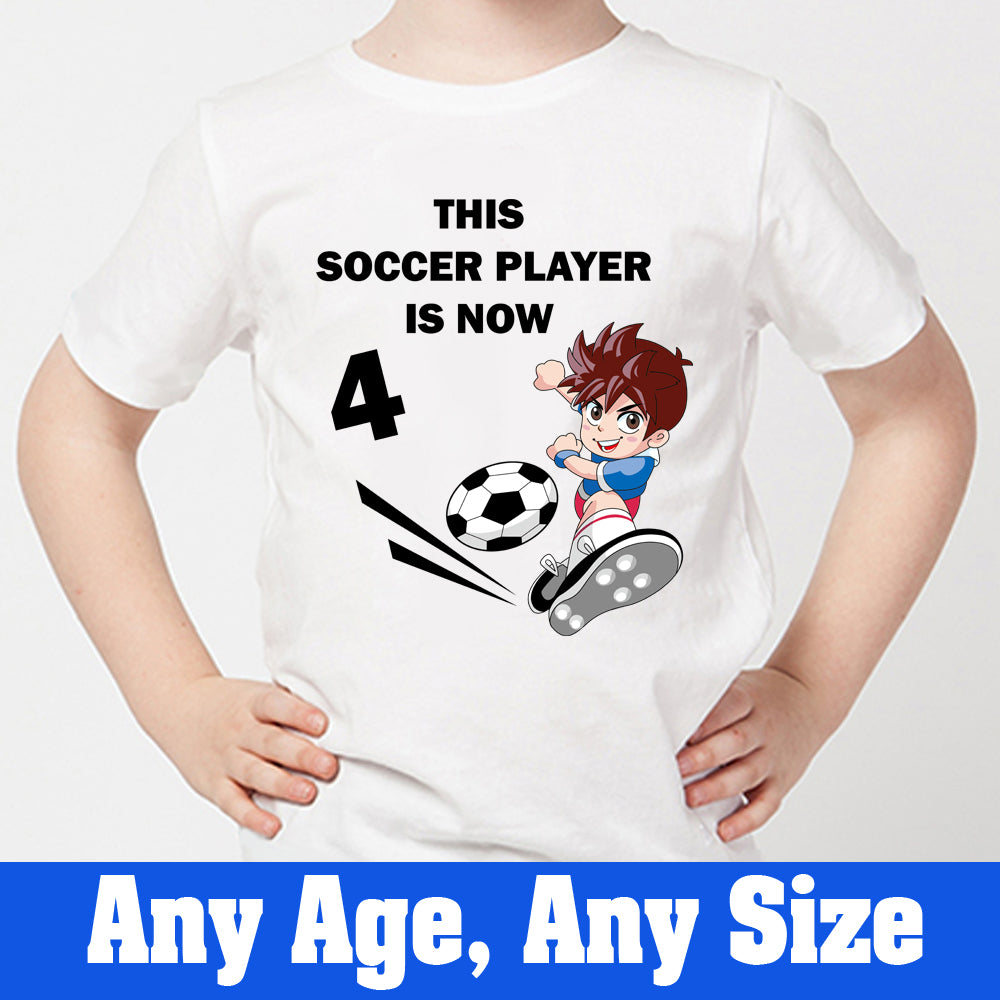 Sprinklecart This Soccer Player is Now 4 Printed Birthday Wear | Personalized 4th Birthday T Shirt