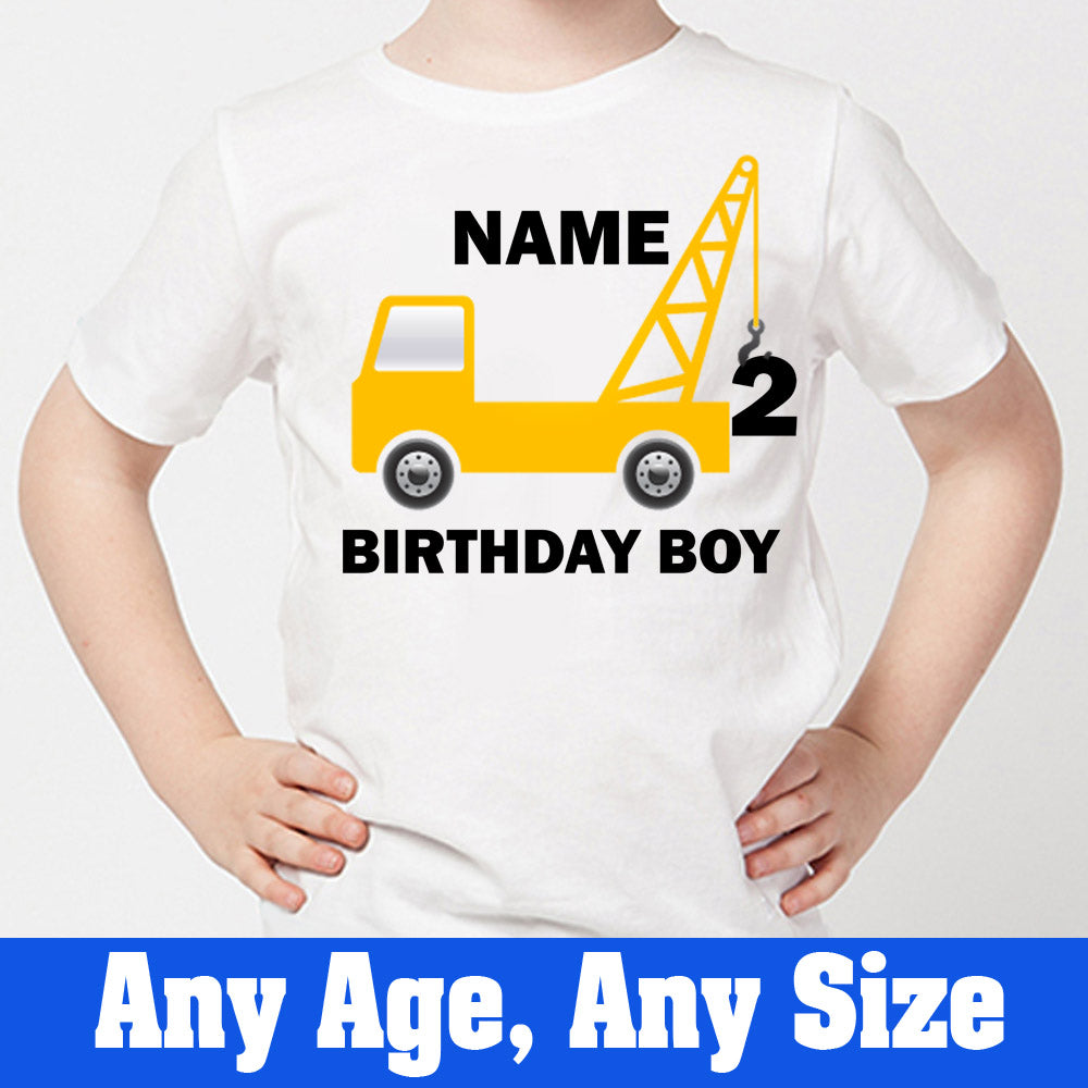 Sprinklecart Construction Vehicle Birthday T Shirt | Custom Name and Age Printed Birthday Wear