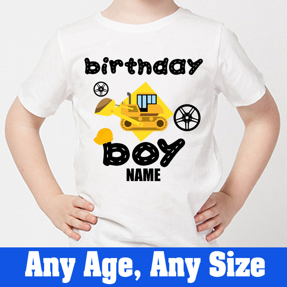 Sprinklecart Unique Construction Vehicle Themed Birthday Tee | Personalized Birthday Wear