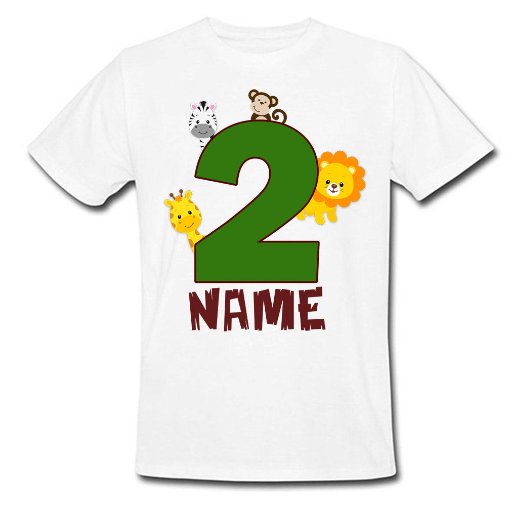 Sprinklecart Safari Animals 2nd Birthday T Shirt | Personalized Birthday Wear for Your Little One