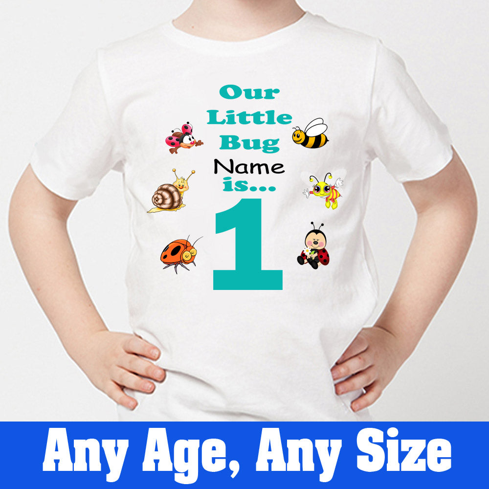 Sprinklecart Our Little Bug is 1 Printed Birthday Dress | Customized Birthday T Shirt