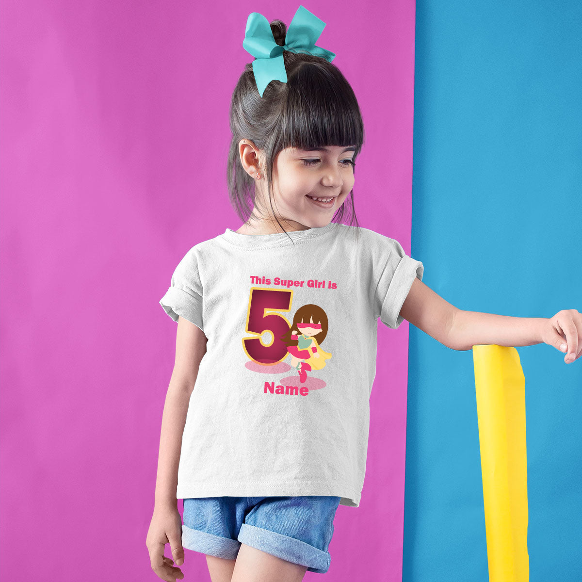 Sprinklecart Super Girl 5th Birthday Wear | Customized Awesome Birthday T Shirt Gift for Girls