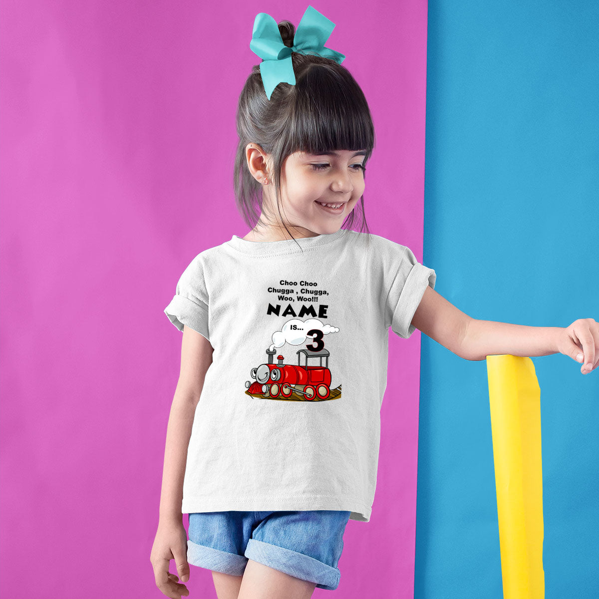 Sprinklecart Choo Choo Chugga Chugga Woo Woo I'm 3 Printed Birthday Tee | Customized Train Birthday Dress