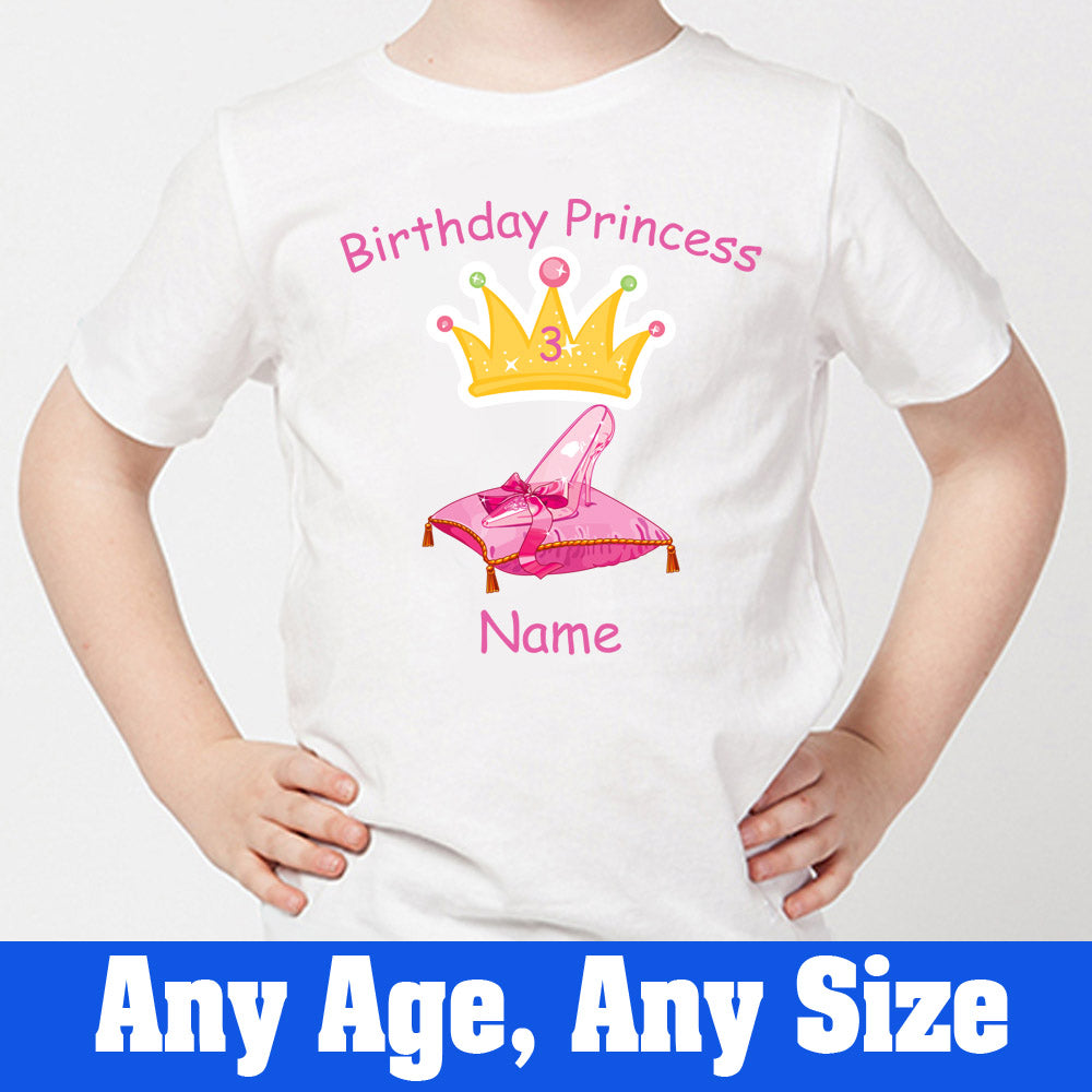 Sprinklecart Custom Name and Age Printed Princess Birthday T Shirt | Awesome Birthday Gift for Girls