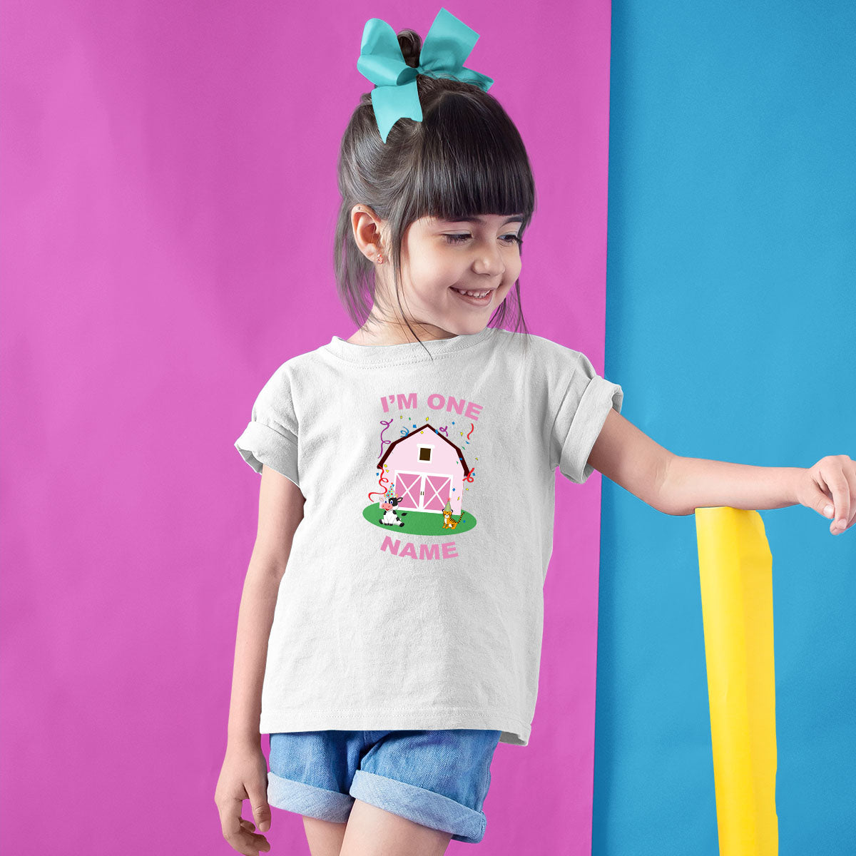Sprinklecart Pink Farm House Birthday T Shirt Gift | Custom Name and Age Printed Birthday Dress
