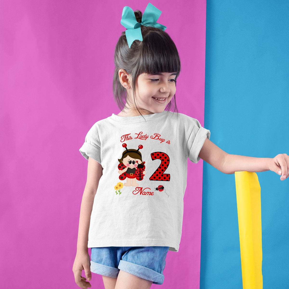 Sprinklecart Lovely Little Bug Birthday Wear | Personalized 2nd Birthday T Shirt Gift for Girls