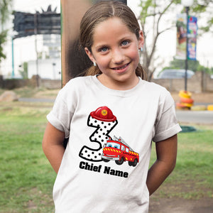 Sprinklecart Fire Vehicle Birthday Tee | Custom Name and Age Printed 3rd Birthday Dress