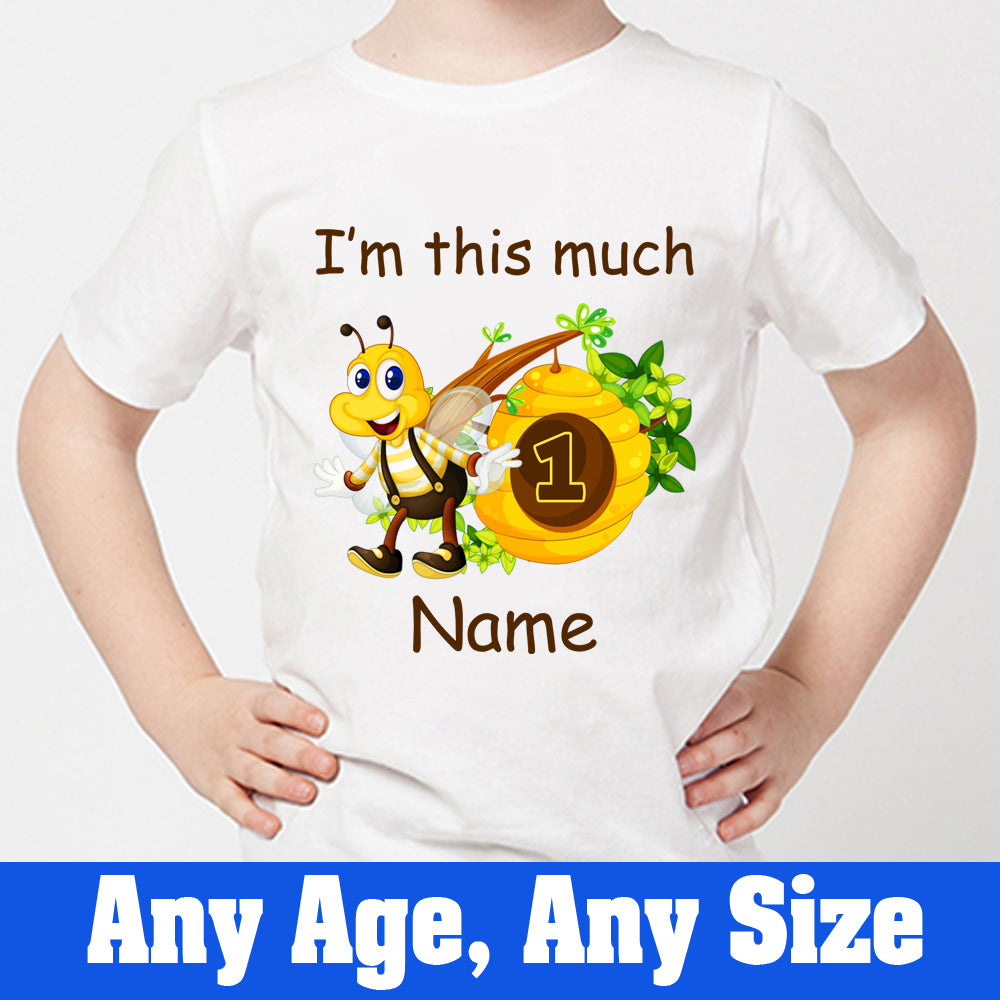 Sprinklecart I'm This Much Printed Honey Bee 1st Birthday Tee | Customized Birthday Wear