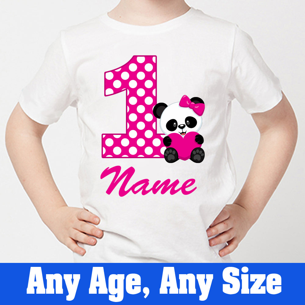 Sprinklecart Cute Little Panda 1st Birthday T Shirt for Girls | Custom Name and Age Printed Birthday Dress