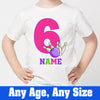 Sprinklecart Custom Name and Age Printed 6th Birthday T Shirt | Unique Bowling Birthday Wear for Girls