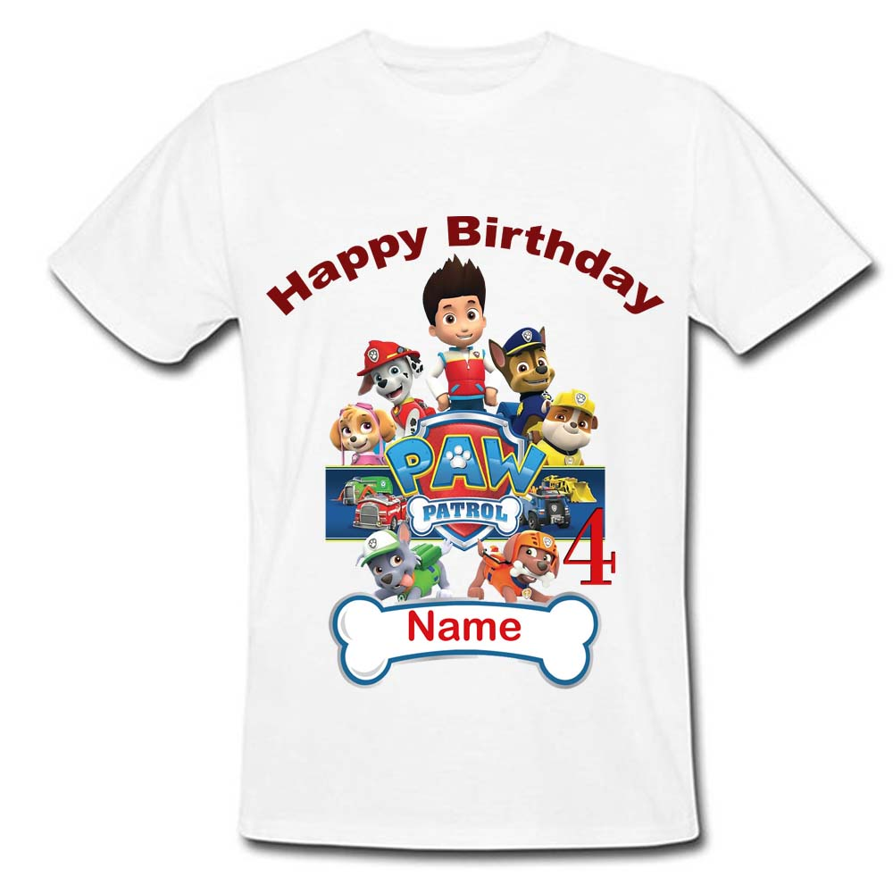 Sprinklecart Paw Patrol Name Printed Birthday Tee Birthday Dress for Your Little Kid