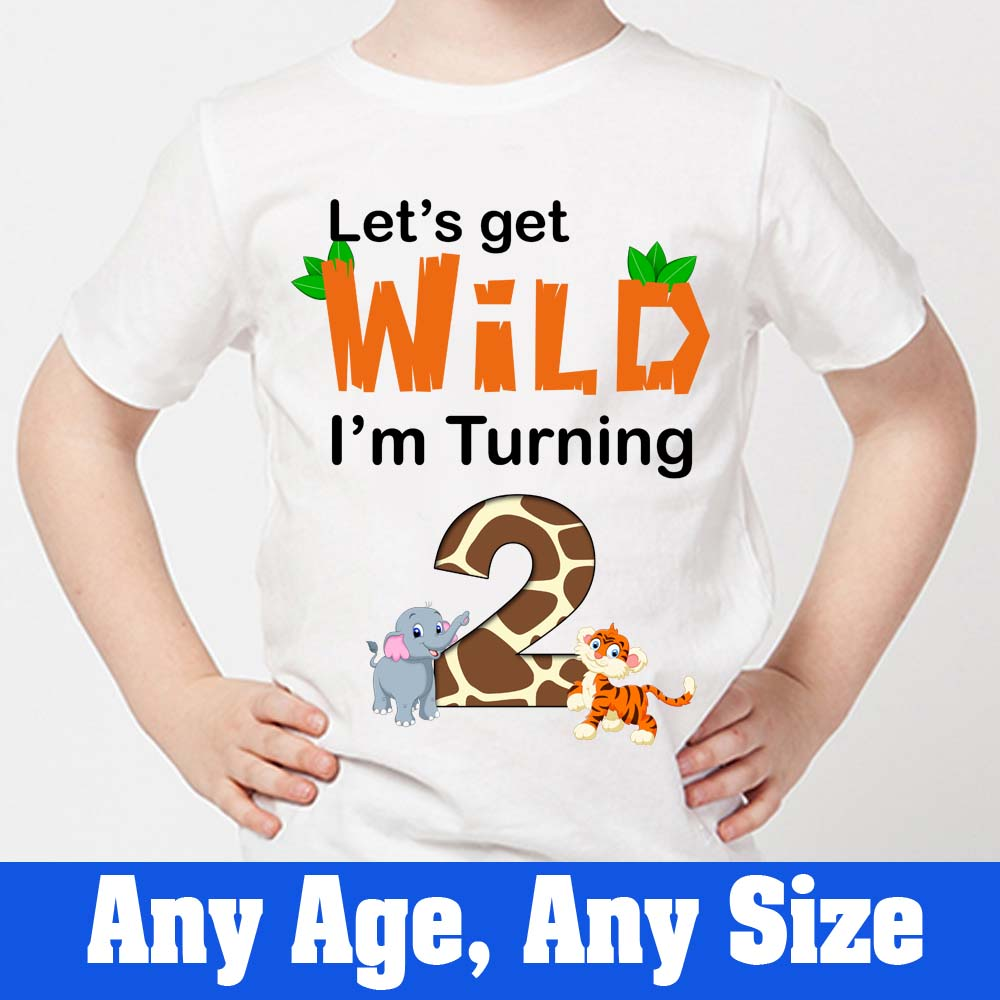 Sprinklecart Let's Get Wild I'm Turning 2 Special Design Printed Birthday Tee | Personalized Name Printed Unique Birthday Gift