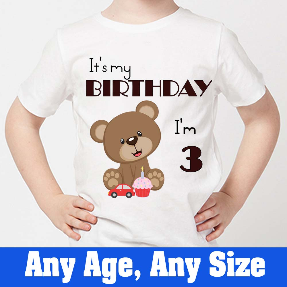 Sprinklecart Personalized Name Printed Tee Gift | It's My 3rd Birthday Kids Birthday Tee