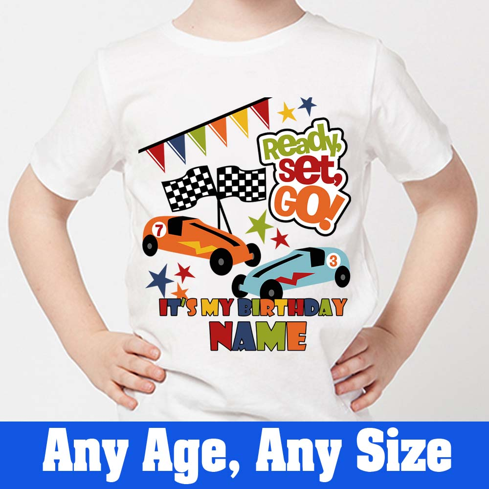 Sprinklecart Lovely Ready Set Go Printed Tee for Kids | Colourful Design Name & Vehicle Theme Printed Birthday Dress
