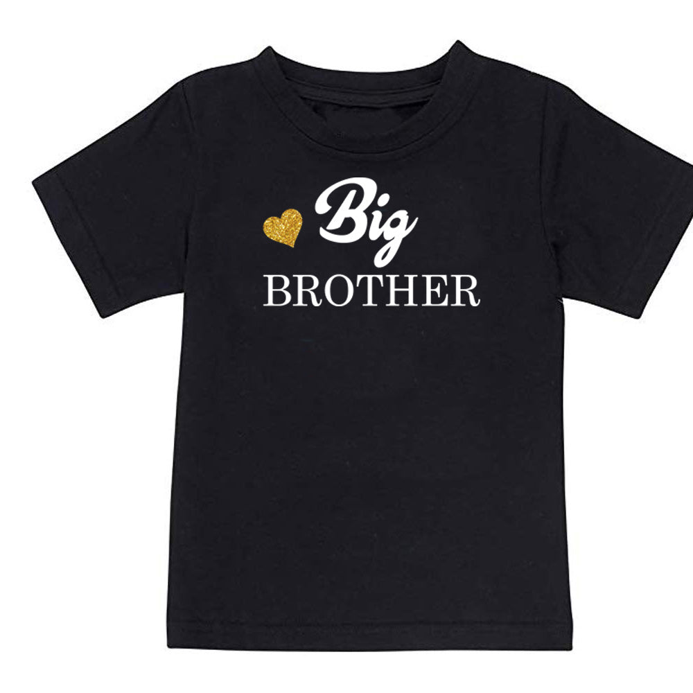 Sprinklecart Little Sister Big Brother Printed Cute Matching T Shirt Set of 2 Black Cotton Sibling T Shirt