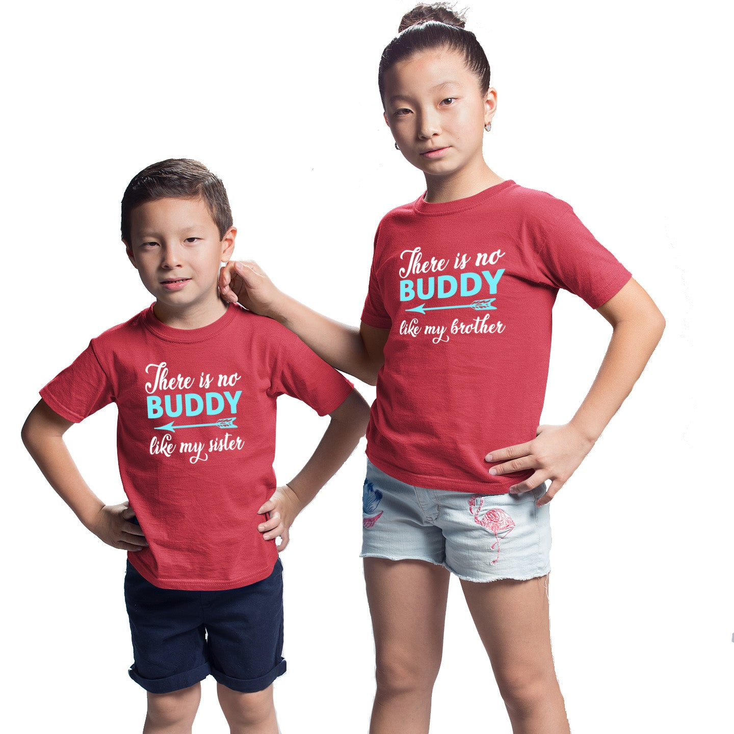Sprinklecart There is No Buddy Like My Sister Printed T Shirts Red Cotton T Shirt Combo for Sister and Brother