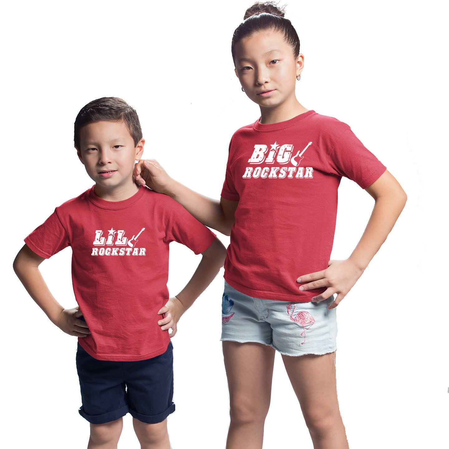 Sprinklecart Big Rockstar Lil Rockstar Printed Matching Sibling T Shirt Combo of 2 Red Cotton T Shirts