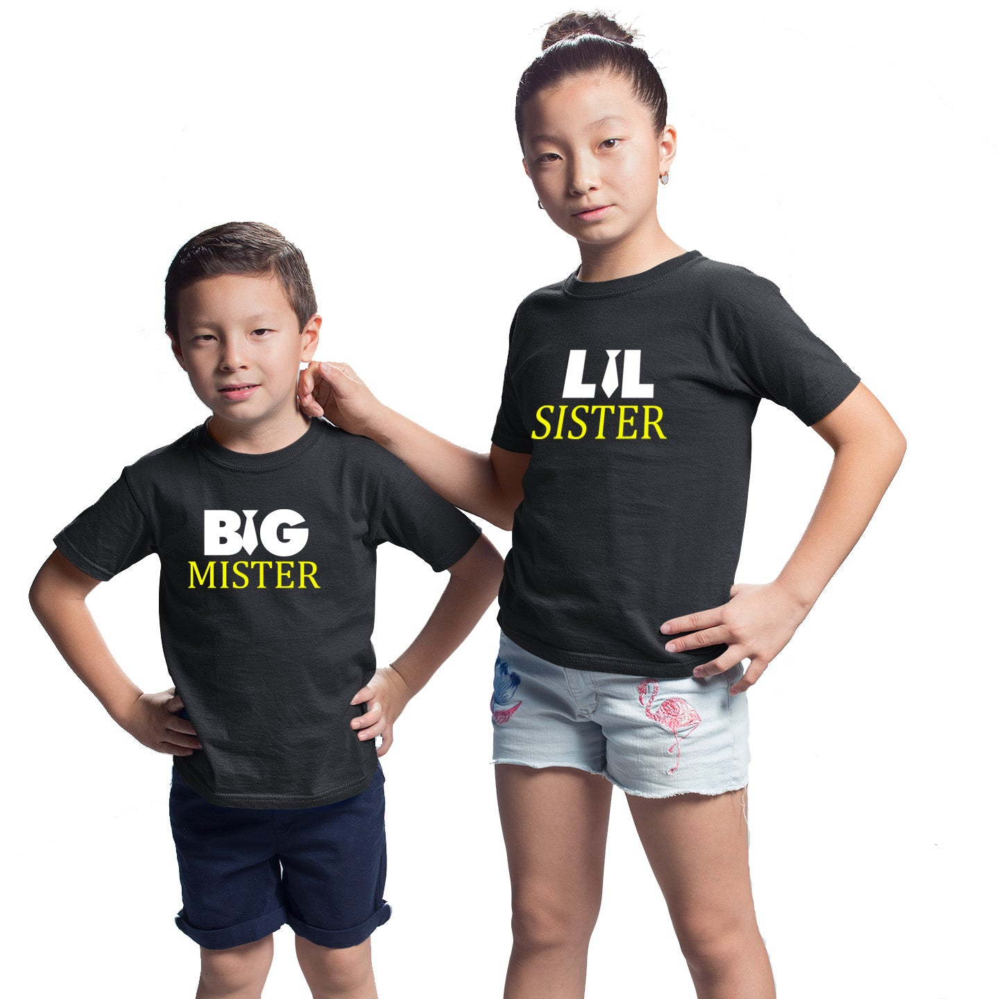 Sprinklecart Big Mister Lil Sister Printed Matching T Shirts Pack of 2 Black Cotton T Shirts