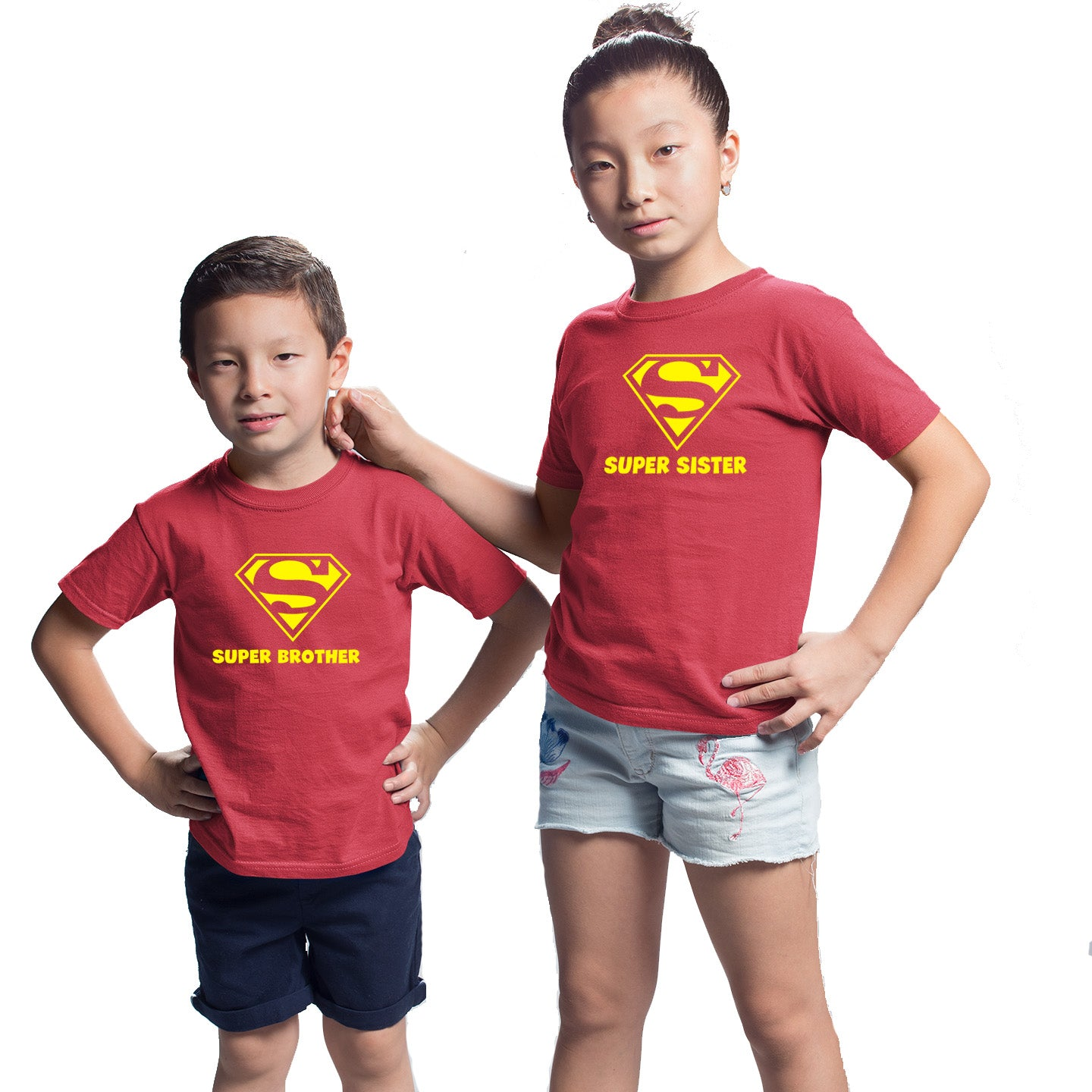 Sprinklecart Super Brother Super Sister Matching T Shirts Red Cotton T Shirt for Siblings
