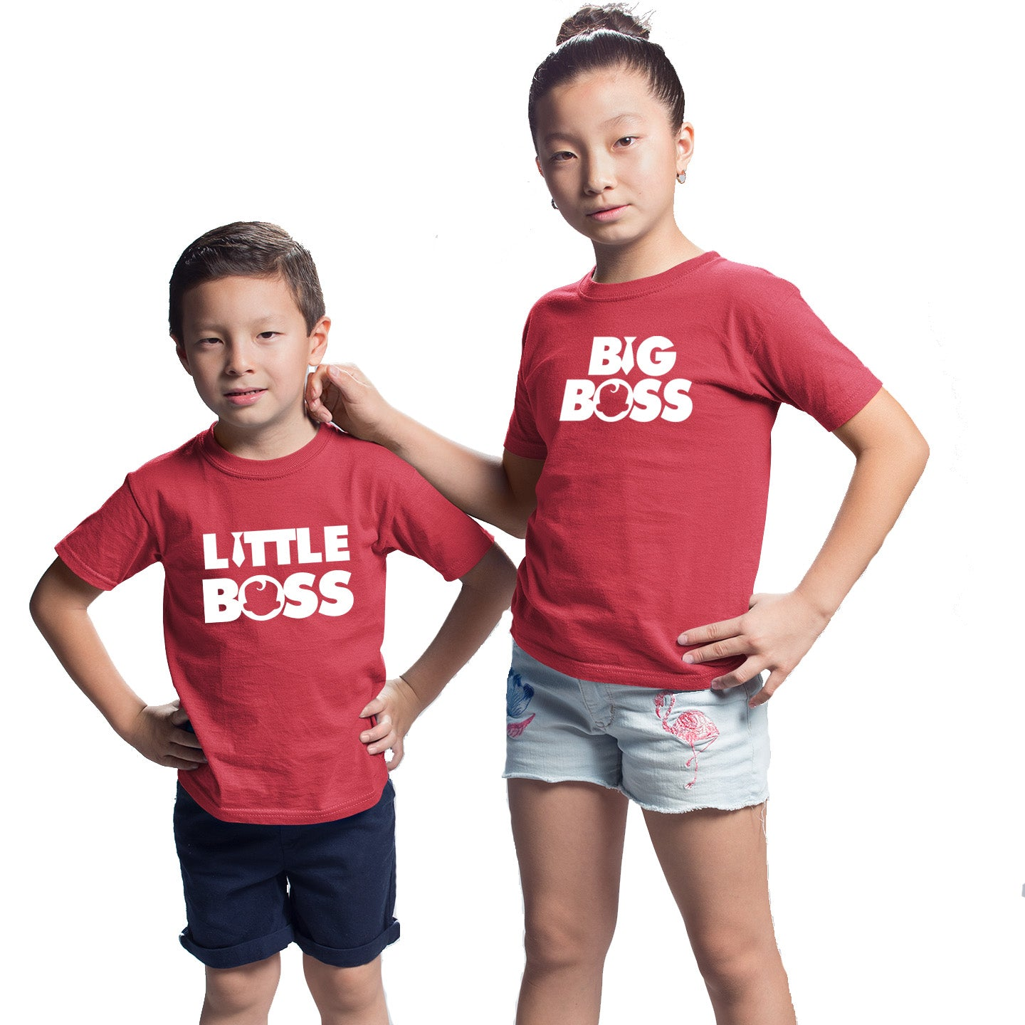 Sprinklecart Big Boss Little Boss Printed T Shirt Combo Set of 2 Red Cotton T Shirt for Sibling