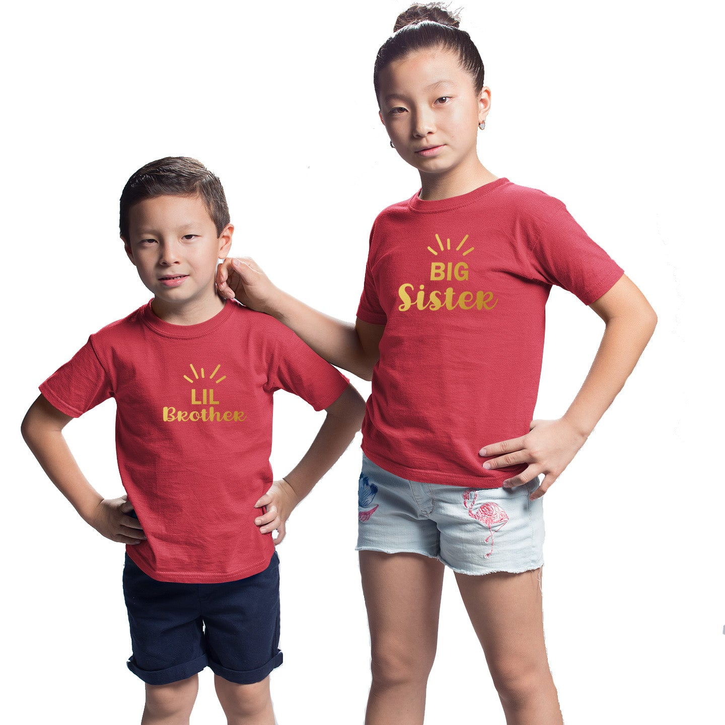Sprinklecart Matching Big Sister Lil Brother Kids Cotton T Shirts Combo Set (Red)